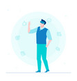 man in vr glasses - flat design style colorful vector image vector image
