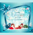 merry christmas background with magic box vector image vector image