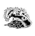 monochrome big ocean sea wave vector image vector image
