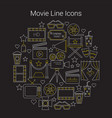 movie line icons set circular shaped vector image vector image