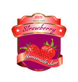 organic strawberry label design for jam package vector image vector image
