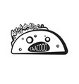 outline halloween spooky taco character vector image vector image