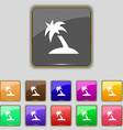Palm Tree Travel trip icon sign Set with eleven vector image vector image