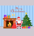 santa claus holding gift box and standing near vector image