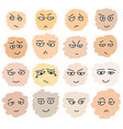 set hand drawn funny faces vector image