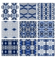 set of blue different seamless colored vintage vector image