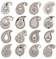 set paisley on white background vector image vector image
