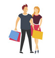 shopping man and woman or couple with bags or vector image vector image