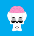 skull and brain sad emoji skeleton head sorrowful vector image vector image