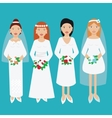 Smiling happy brides in wedding dresses vector image vector image