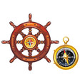 steering wheel of the ship and the golden compass vector image