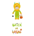 Trick or treat halloween card with cute monster vector image vector image