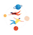 virtual space travel people vr glasses flying vector image vector image