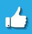 white hand silhouette with thumb up on blue vector image vector image