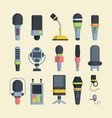 wireless and wired microphones flat vector image