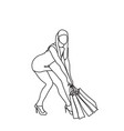 woman carry heavy shopping bags isolated vector image