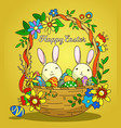 woven basket with eggs and bunnies vector image
