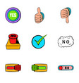 yes gesture icons set cartoon style vector image vector image