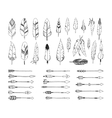 Hand drawn tribal collection with arrows and vector image