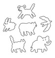 abstract cloud animals in sky outlined vector image
