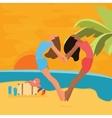 beach woman having fun sunset jump heart symbol vector image vector image