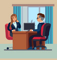 business office conversation sitting businessman vector image