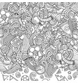 cartoon doodles soccer frame line art vector image vector image