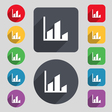 Chart icon sign A set of 12 colored buttons and a vector image