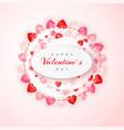 circle decoration garland red and pink hearts vector image