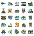 coffee production icons set flat vector image vector image
