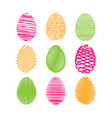 colorful easter egg set white scribble effect vector image