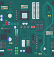computer motherboard seamless pattern board green vector image