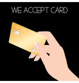 Credit card with woman hand vector image vector image