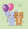 cute elephant and doggy sweet kawaii birthday card vector image