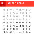 day dead line web glyph icons vector image vector image