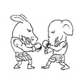 donkey and elephant boxers black and white drawing vector image vector image