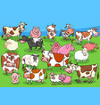 farm animals cartoon characters group on meadow vector image vector image