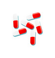 flat cartoon red white capsules isolated vector image vector image