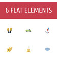 flat icons fly conch shell and other vector image vector image