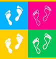 foot prints sign four styles of icon on four vector image