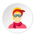girl with glasses icon circle vector image vector image