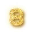 gold glitter alphabet numbers 8 with shadow vector image