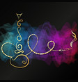 golden hookah for relaxation and colored smoke vector image vector image