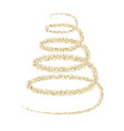golden particle wave in form of christmas tree vector image