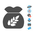 grain harvest flat icon with free bonus elements vector image vector image