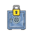 grated strong box object and padlock security vector image vector image