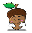 happy acorn cartoon character style vector image vector image