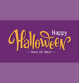happy halloween lettering on purple background vector image vector image