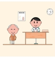 Happy patient and doctor vector image vector image