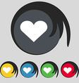 Heart Love icon sign Symbol on five colored vector image vector image